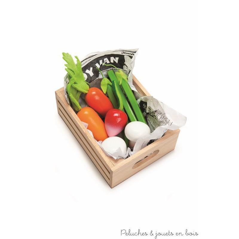 Ma récolte de Légumes en bois Caissette du marché Le Toy Van
