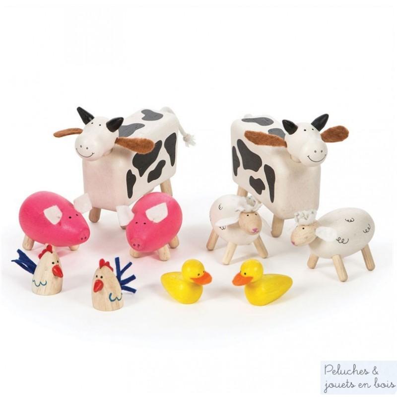 10 animaux de la ferme en bois peint de la marque Tidlo distribuée par Bigjigs. A partir de 3 ans+
