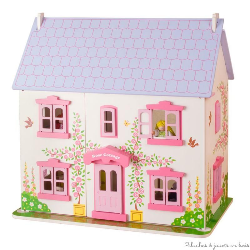 Grande maison de poupée en bois rose blanche mauve Bigjigs