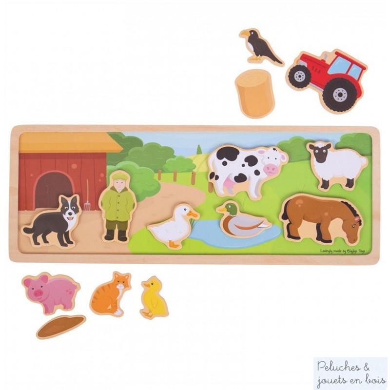 Un tableau magnétique en bois en bois Bigjigs sur le thème de la ferme avec 14 magnets pour créer des scènes différentes a chaque session de jeu. A partir de 3 ans+
