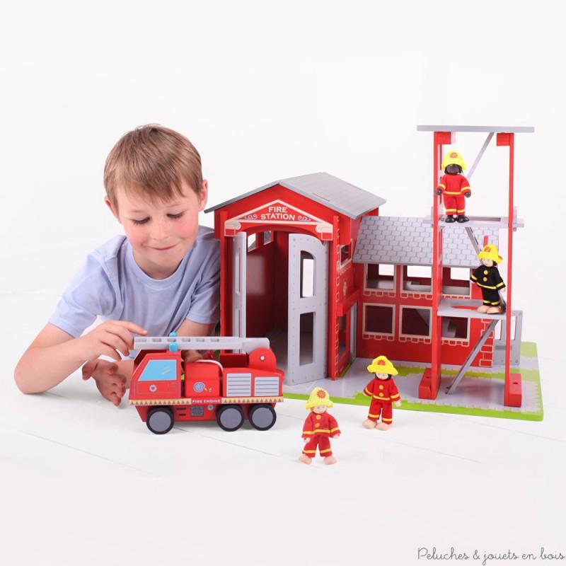 Caserne et Camion de pompier Jouets en bois Bigjigs