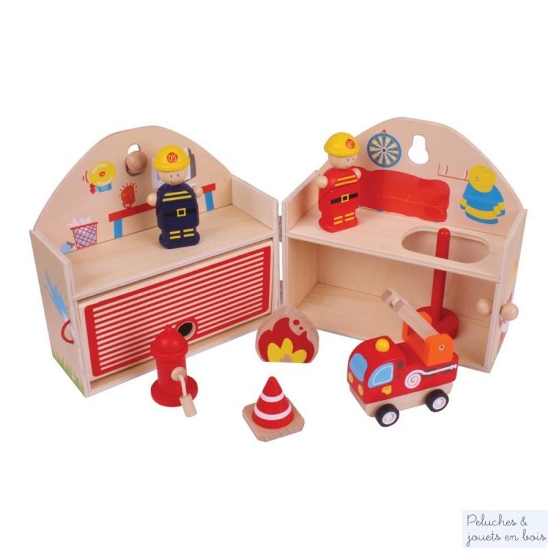 Coffret mini caserne de pompiers en bois Bigjigs