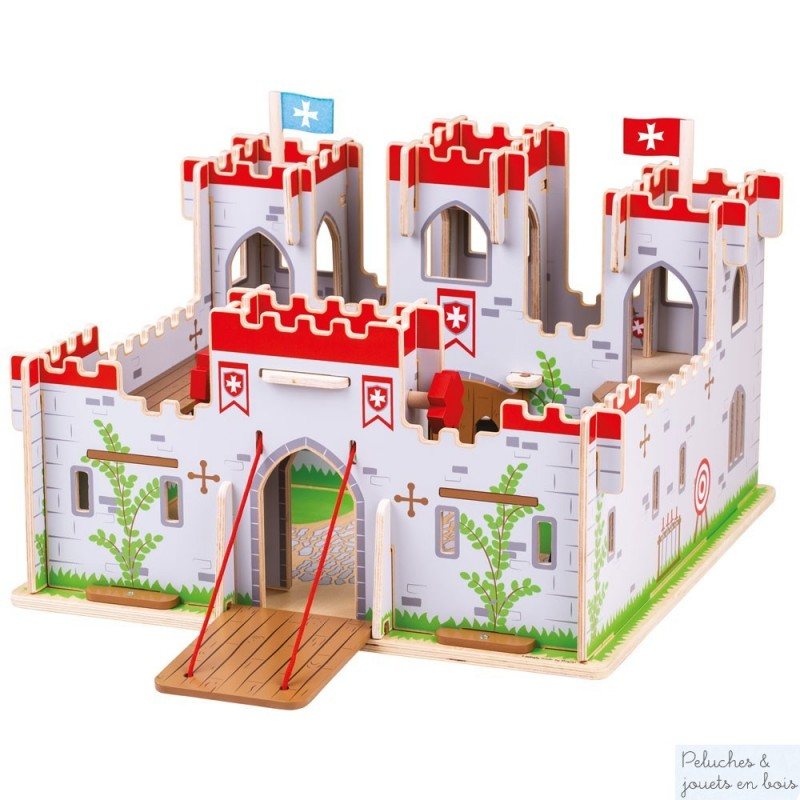 Ce très beau château-fort en bois de la marque Bigjigs avec créneaux, tours, pont levis et même un donjon comprend 6 personnages en bois articulés. A partir de 3 ans+