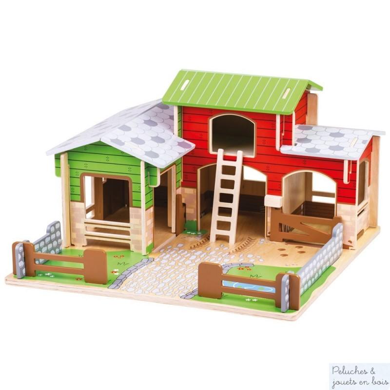 Magnifiquement conçue cette très grande ferme est un jouet en bois de la marque Bigjigs, réunissant tout l'univers pour les amoureux de la ferme. Es-tu prêt pour une journée bien remplie à la ferme ? A partir de 3 ans+ Dimension Largeur 45 cm, Hauteur : 25 cm, Profondeur 45cm