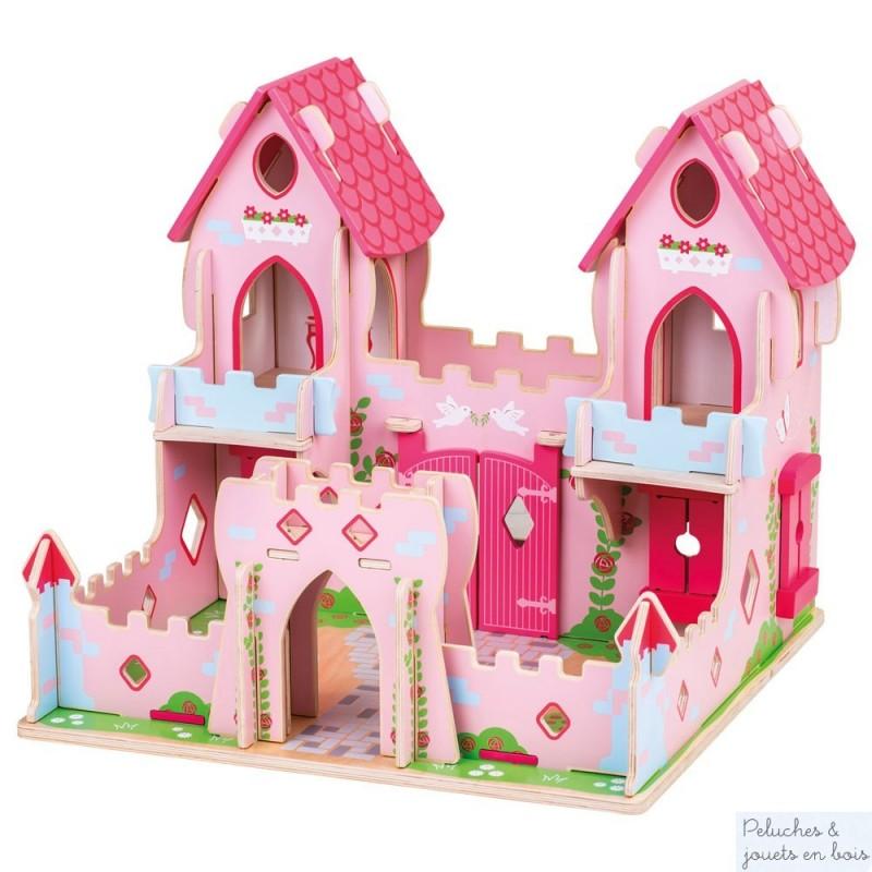 Ce chateau de princesse Conte de fée rose et bleu de la marque Bigjigs est une maison de poupée féérique qui comprend 6 personnages en bois articulés. A partir de 3 ans+