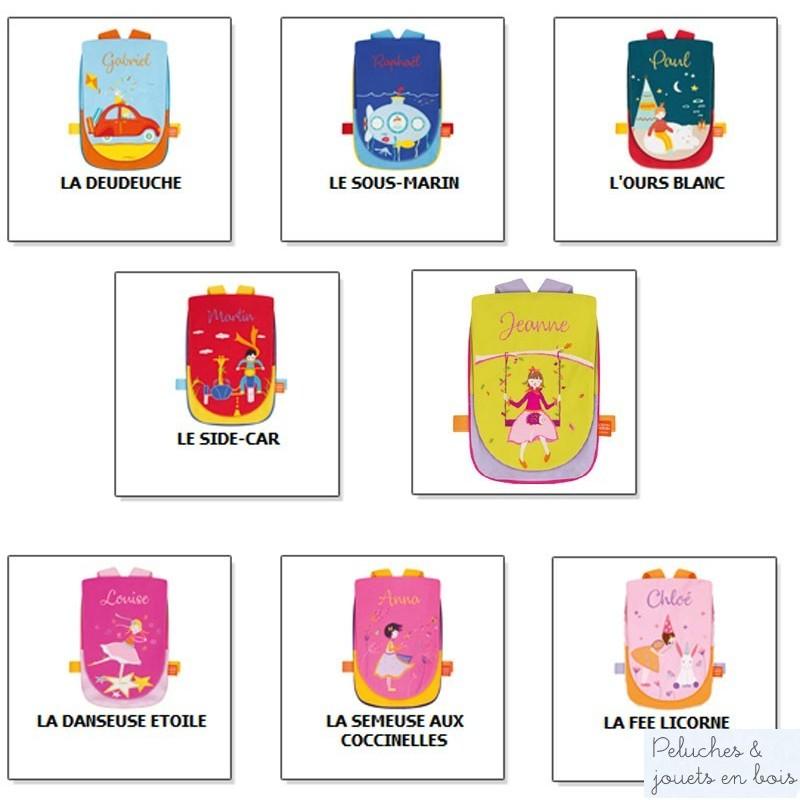 Idéal pour voyager ou pour rentrer à la maternelle, et bien sûr pour faire un cadeau personnalisé, ces jolis petits sacs à dos à broder et personnalisable avec le prénom de l'enfant, est signé l'Oiseau Bateau. Frais de port offert.