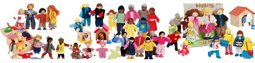 famille poupée articulée meubles en bois maison de poupées