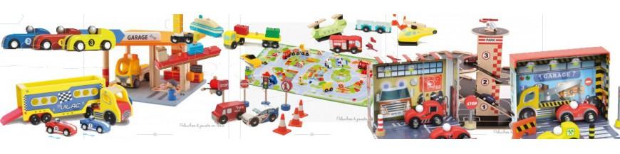 Petites voitures en bois, Garage, Parking, Circuit de voitures