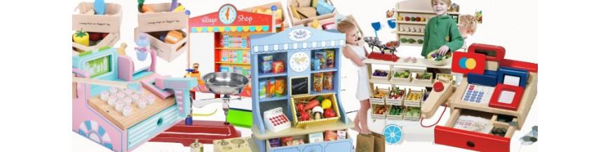 Jouer à la marchande, caisse d'aliments, panier de provisions