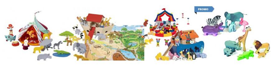 Jouer au zoo, cirque, safari, dinosaure